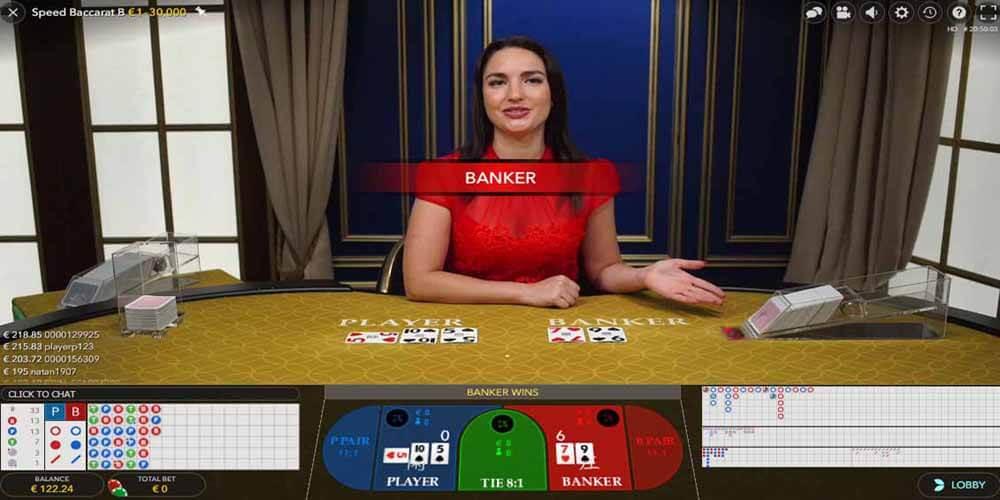 Baccarat croupier in het live casino