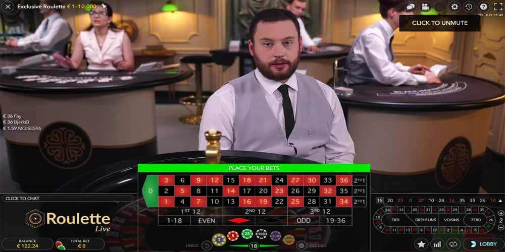 Roulette croupier in het live casino